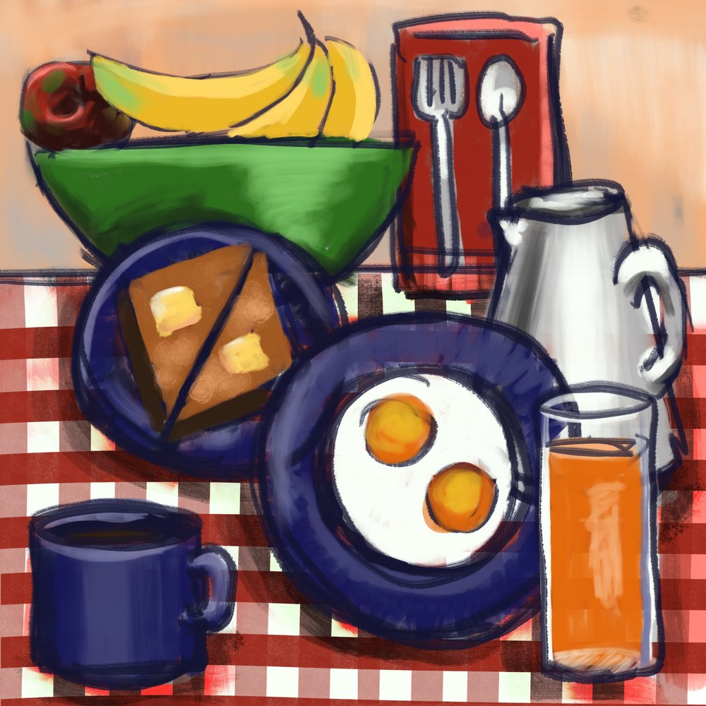 Breakfast Painted with ProCreate for iPadPro
