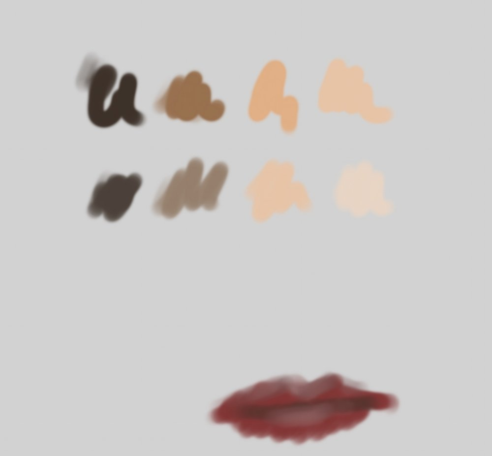 8 skin tones and smudgy lips