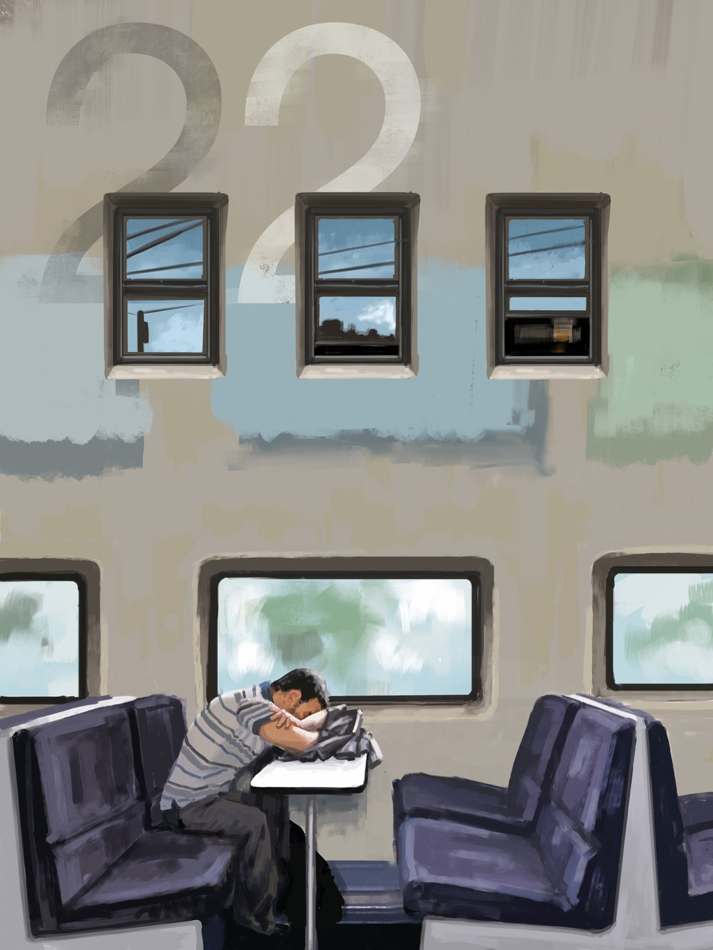 Napping Commuter Digital painting, iPad Pro, Procreate