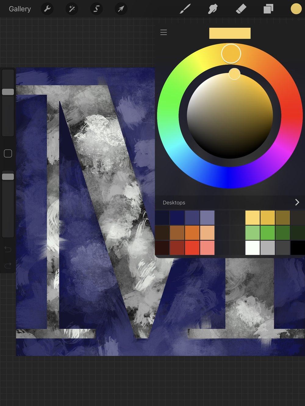 Painting the 'M' in ProCreate Each image uses the same color palette.