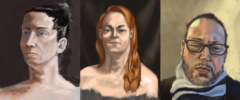 Three attempts at portraits, with steady improvement.