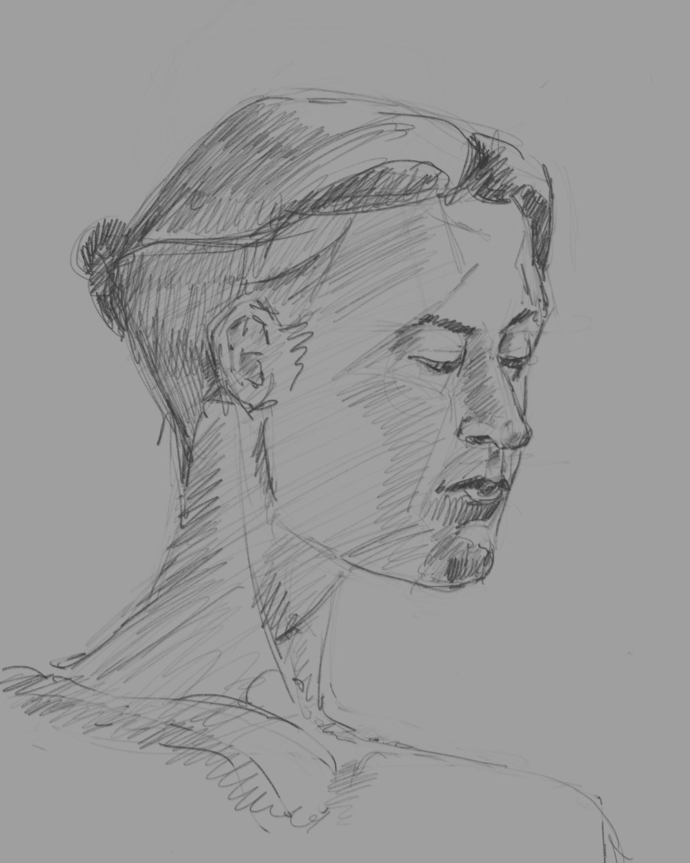 Warm up sketch from Thursday night. Notice the wonky neck.