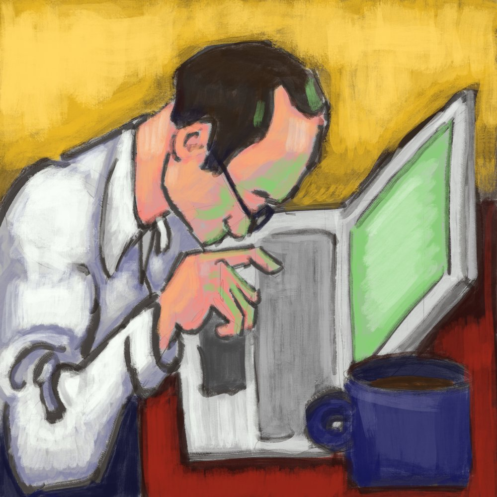 Work, coffee, work Digital painting created with Procreate for iPad Pro