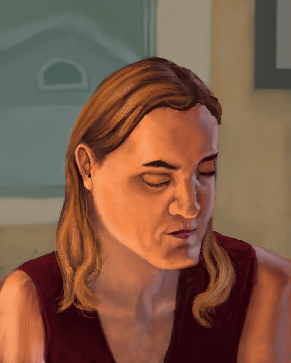 Caroline at the old apartment Digital painting, ProCreate for iPad