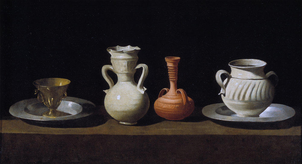 Bodegón or Still Life with Pottery Jars, by Francisco de Zurbarán.