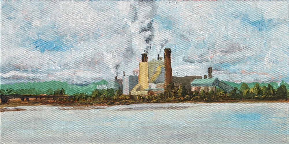 Simpson Tacoma Craft Paper Mill  Acrylic on canvas 12
